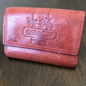 Coach Leather Red Wallet